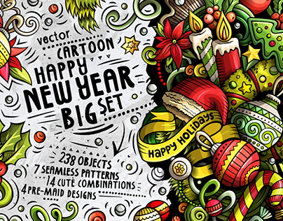 Happy New Year Doodle Big Pack