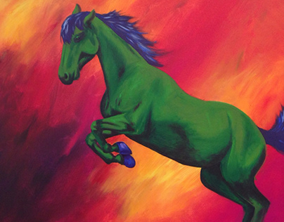 Green horse in fire field