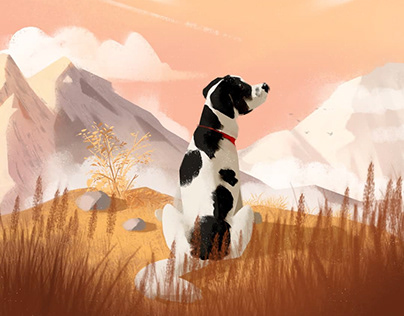 Dog and mountains - Luna