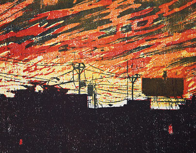 """Common/Wealth, 9 x 12"""" Colored Woodblock on Paper"""