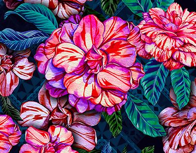 Camellia, watercolor, pattern