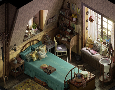Vintage bedroom - Isometric