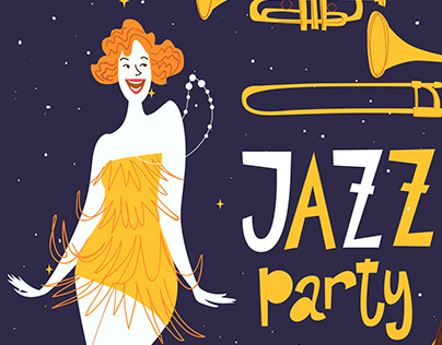 Jazz party posters design with dancing women
