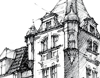 Townhouses in Poznan - sketches in ink and watercolor
