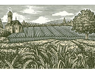 Schneider's Landbier Illustrated Label by Steven Noble