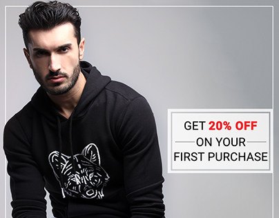 Get 20% Discount on 1st Purchase on Mens Clothing.