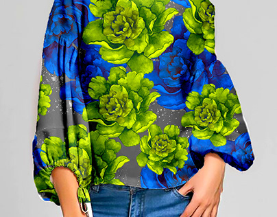Blue Green Floral pattern design by Nora Gad