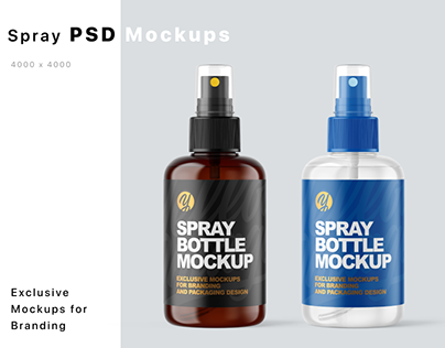 Plastic Spray Bottles Mockups