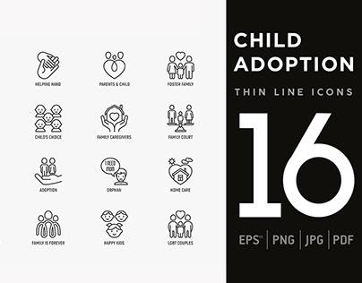 Child Adoption | 16 Thin Line Icons Set