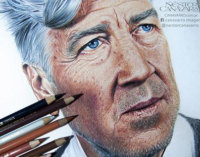 David Lynch in colored pencils