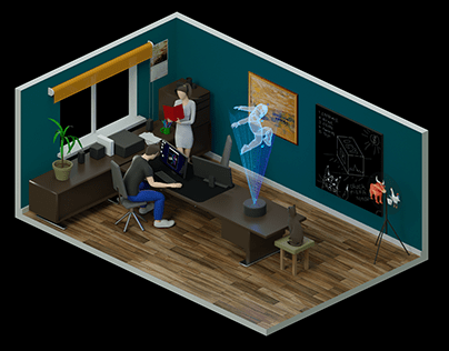 Isometric room / Our home office