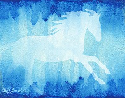 Horse Running Blue Watercolor