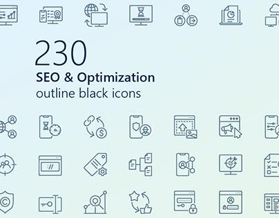SEO & Optimization outline iconset