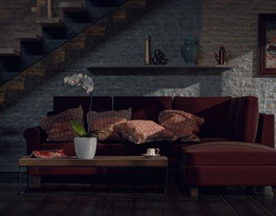 Hotel lobby in Adobe Dimension