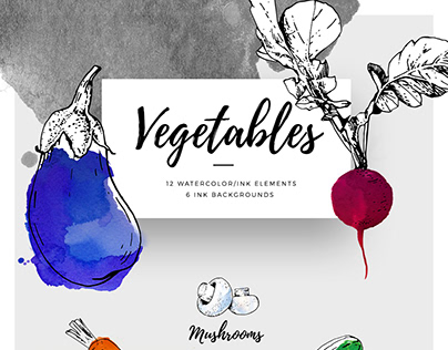 12 Hand Drawn Vectorized Ink Vegetables