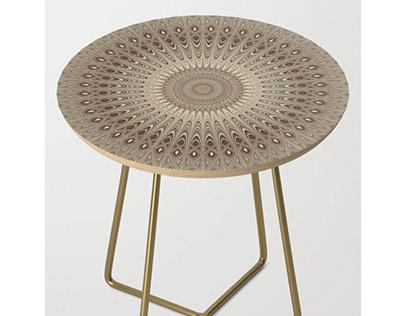 Beige Mandala Side Table