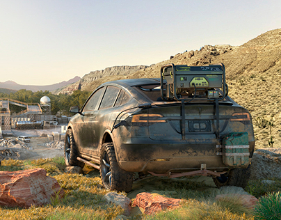 Off-road Tesla Model X CGI