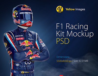 F1 Racing Kit PSD Mockup