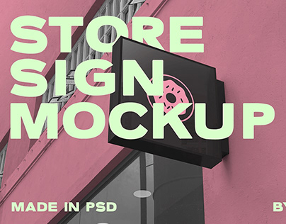 Store sign Mockup in PSD