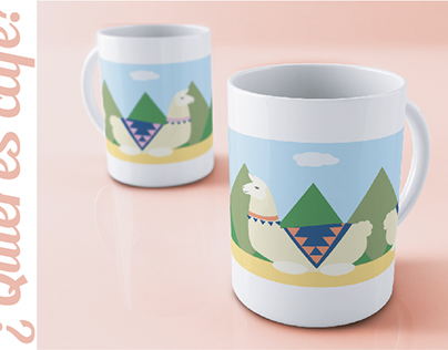 Illustration & Surface Design - Llama Mug