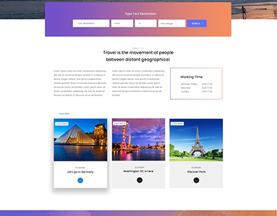 Travelling website inspired from themeforest.