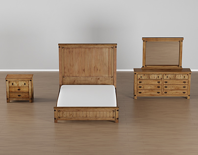 Moira Country Style 4-Piece Weathered Elm Bedroom Set,