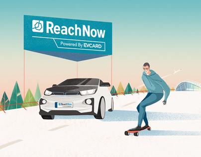 illustrations for ReachNow and EVCARD