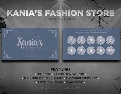 Kania's Fashion Store Loyalty Card