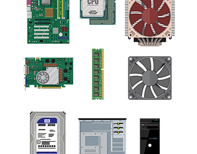 Assembling PC. Personal computer hardware set
