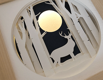 Winter Stag Paper Light Up Shadow Box - White Version