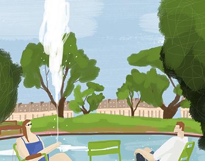 [일러스트] 파리 튈르리 정원 Paris Jardin des Tuileries