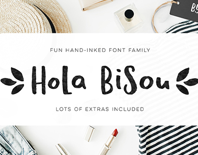Hola Bisou - fun quirky inky font with lots of extras