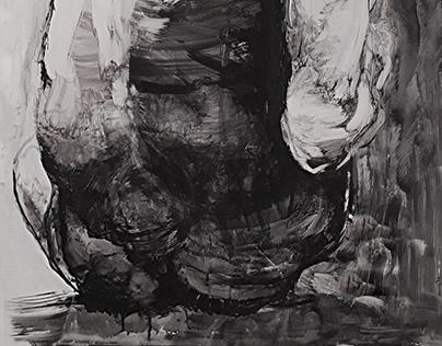 Akt męski, rysunek, tempera, 2018
