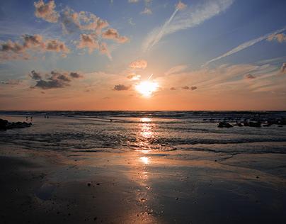 Sunset over sea ...