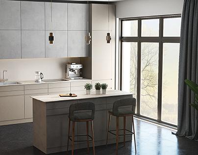 Light kitchen interior by AIR Studio