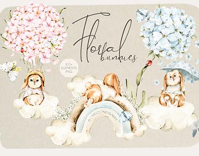 Floral cute bunnies. watercolor baby clipart
