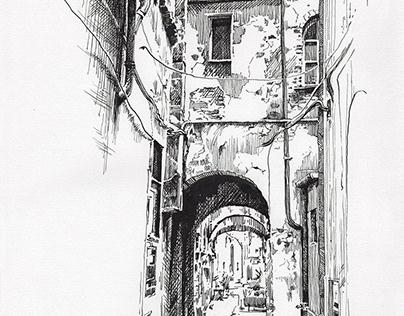 Città di Castello - dip pen sketch