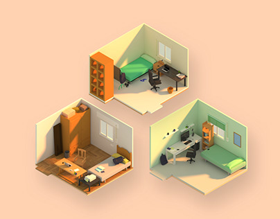 Habited rooms | 3D low poly