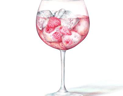 Watercolour Pink gin