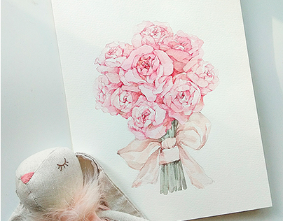 Bouquet of roses. Watercolor