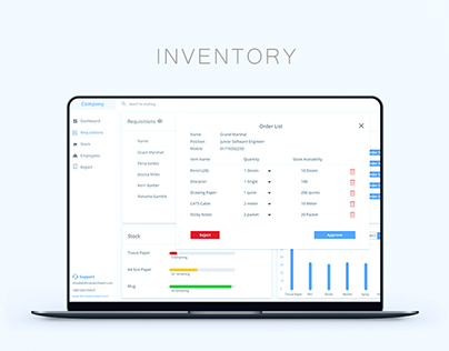 Adobe XD Dashboard UI kit - Inventory System Freebie