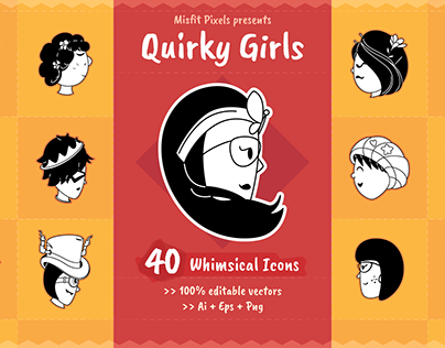 Quirky girls vector icons & stickers