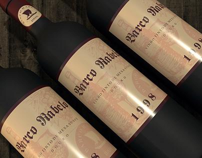 Rótulo e embalagem do vinho Barco Rabelo
