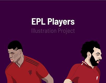 English Premier League Players Illustration