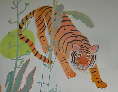 Jungle in a children's room - mural