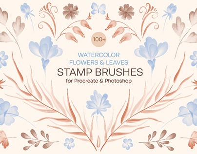 Watercolor Flowers & Leaves Stamp Brushes for Procreate