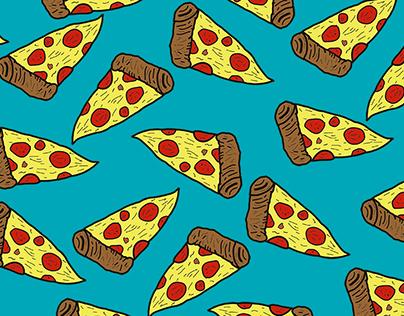 Ilustração e padronagem pizza
