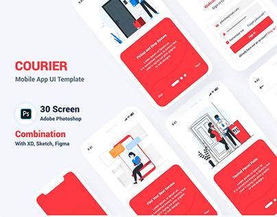 Parcel Courier Mobile App UI PSD Template
