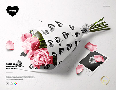 Roses Bouquet Wrapping Paper Mockup Set