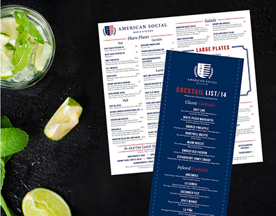 American Social Bar & Kitchen Invite and Menu